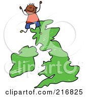 Royalty Free RF Clipart Illustration Of A Childs Sketch Of A Boy On A Uk Map by Prawny