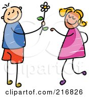Royalty Free RF Clipart Illustration Of A Childs Sketch Of A Boy Giving A Daisy To A Girl