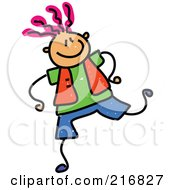 Royalty Free RF Clipart Illustration Of A Childs Sketch Of A Trendy Boy With Pink Hair