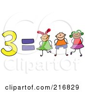Royalty Free RF Clipart Illustration Of A Childs Sketch Of 3 Equals Three Kids by Prawny