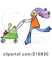 Royalty Free RF Clipart Illustration Of A Childs Sketch Of A Mom Pushing A Baby Stroller