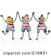Royalty Free RF Clipart Illustration Of A Childs Sketch Of Three Boys Holding Up Their Hands