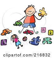 Royalty Free RF Clipart Illustration Of A Childs Sketch Of A Messy Boy Playing