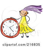 Royalty Free RF Clipart Illustration Of A Childs Sketch Of A Girl With A Clock