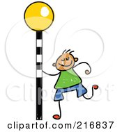 Childs Sketch Of A Boy With A Crosswalk Sign