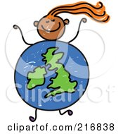 Royalty Free RF Clipart Illustration Of A Childs Sketch Of A Girl With A Uk Globe Body