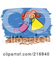 Royalty Free RF Clipart Illustration Of A Childs Sketch Of A Girl Watering Her Garden