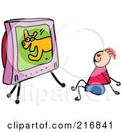 Royalty Free RF Clipart Illustration Of A Childs Sketch Of A Boy Watching A Dog Show On Tv