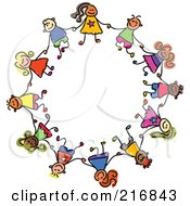 Royalty Free RF Clipart Illustration Of A Childs Sketch Of Boys And Girls In A Circle Holding Hands by Prawny #COLLC216843-0089