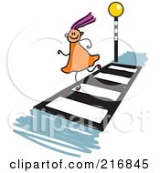 Royalty Free RF Clipart Illustration Of A Childs Sketch Of A Girl Running On A Crosswalk