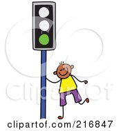 Royalty Free RF Clipart Illustration Of A Childs Sketch Of A Boy By A Green Traffic Light