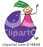 Royalty Free RF Clipart Illustration Of A Childs Sketch Of A Girl With A Three Quarter Circle