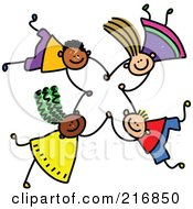 Royalty Free RF Clipart Illustration Of A Childs Sketch Of Four Kids Holding Hands While Falling 5
