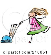 Royalty Free RF Clipart Illustration Of A Childs Sketch Of A Girl Vacuuming