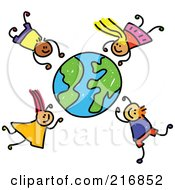 Royalty Free RF Clipart Illustration Of A Childs Sketch Of Boys And Girls Falling Around A Globe