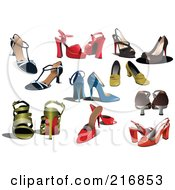 Royalty Free RF Clipart Illustration Of A Digital Collage Of Many High Heel Shoes