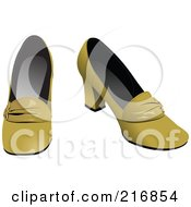 Royalty Free RF Clipart Illustration Of Retro Yellow Heeled Shoes by leonid