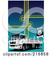 Royalty Free RF Clipart Illustration Of A Big Rig Truck With Lines And A Route 66 Sign On Blue by leonid