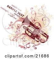 Musical Clipart Picture Illustration Of A Red Trumpet With Pink Scrolling Vines Over A Beige Grunge And White Background by OnFocusMedia