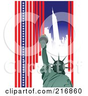 Royalty Free RF Clipart Illustration Of A Statue Of Liberty Over A White City With Vertical Stars And Stripes by leonid
