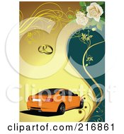Royalty Free RF Clipart Illustration Of An Orange Car Over Teal And Yellow With Wedding Rings Vines And Roses by leonid