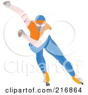 Royalty Free RF Clipart Illustration Of A Speed Skater In Action 3 by leonid