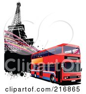 Royalty Free RF Clipart Illustration Of A Modern Double Decker Bus And The Eiffel Tower With Grungy Splatters And Waves by leonid