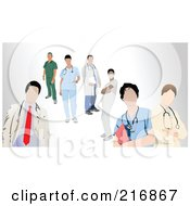 Royalty Free RF Clipart Illustration Of A Digital Collage Of Doctors Nurses Surgeons And Veterinarians by leonid