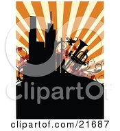 Musical Clipart Picture Illustration Of A Retro Background Of Silhouetted City Buildings And A Trumpet With Vines Over Orange by OnFocusMedia
