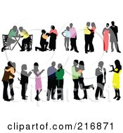 Royalty Free RF Clipart Illustration Of A Digital Collage Of Silhouetted Couples In Colorful Clothes by leonid