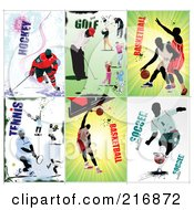 Royalty Free RF Clipart Illustration Of A Digital Collage Of Hockey Golf Basketball Tennis And Soccer Athletes by leonid