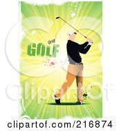 Royalty Free RF Clipart Illustration Of A Golfer Swinging Over Grungy Green Rays And Golf Text by leonid