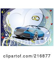 Royalty Free RF Clipart Illustration Of A Blue Cabriolet Car On A Blue Background With Rings Hearts And Vines by leonid