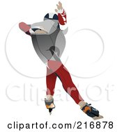 Royalty Free RF Clipart Illustration Of A Speed Skater In Action 1 by leonid