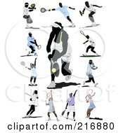Royalty Free RF Clipart Illustration Of A Digital Collage Of Female And Male Tennis Athlete In Action by leonid