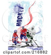 Royalty Free RF Clipart Illustration Of Three Hockey Players Over A Grungy Blue Background With Ice Hockey Text by leonid