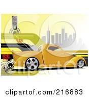Royalty Free RF Clipart Illustration Of A Yellow Pickup Truck On A Background Of Skyscrapers Lines And Traffic Lights by leonid
