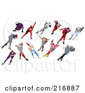 Royalty Free RF Clipart Illustration Of A Digital Collage Of Speed Skaters by leonid