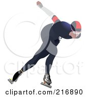 Royalty Free RF Clipart Illustration Of A Speed Skater In Action 2 by leonid