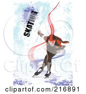 Royalty Free RF Clipart Illustration Of An Ice Skater Skating Over A Grungy Blue Background With Text by leonid