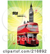 Royalty Free RF Clipart Illustration Of A Double Decker Bus Near Big Ben With Text And Splatters On Green by leonid