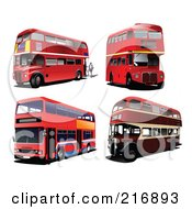 Royalty Free RF Clipart Illustration Of A Digital Collage Of Four Double Decker Buses by leonid