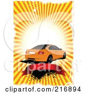 Royalty Free RF Clipart Illustration Of An Orange Coupe Car Over A Red Banner On A Grungy Background