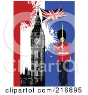 Royalty Free RF Clipart Illustration Of A London Guard Near Big Ben On A Grungy Background by leonid