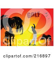 Royalty Free RF Clipart Illustration Of A Golfer Swinging Over Sunset Rays With Golf Text by leonid