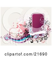 Clipart Picture Illustration Of A Website Background With Pink Butterflies Purple Blue And Winte Waves And A Blank Pink Box With A Banner And Scrolled Vines by OnFocusMedia