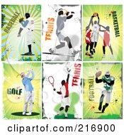 Royalty Free RF Clipart Illustration Of A Digital Collage Of Baseball Tennis Basketball Golf Tennis And Football Athletes by leonid