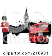 Royalty Free RF Clipart Illustration Of A Guard By A Double Decker Bus And Big Ben by leonid