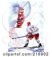 Royalty Free RF Clipart Illustration Of A Hockey Players Over A Grungy Blue Background With Ice Hockey Text 2 by leonid