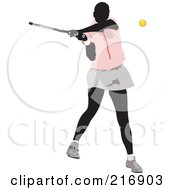 Royalty Free RF Clipart Illustration Of A Female Tennis Athlete In Action 2 by leonid